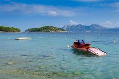 Jet ski in tropical bay Royalty Free Stock Photo