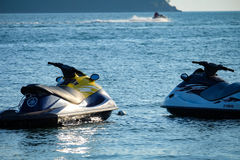 Jet Ski. Two Yamaha jetski lieing in the water at a beach of langkawi, malaysia Stock Image