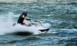 Jet ski water sport. High speed crazy jet ski water sport Royalty Free Stock Photography