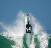 Jet ski in the waves. PENICHE, PORTUGAL - APRIL 15: World  Championship Freeride Portugal, jet ski qualifiers in Supertubos beach April 15, 2007 in Peniche Royalty Free Stock Image