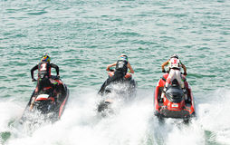 Jet Ski World Cup 2014 in Thailand. PATTAYA - DECEMBER 6: From the start of the Pro Runabout 800 class during Thai Airway International Jet Ski World Cup at Royalty Free Stock Images