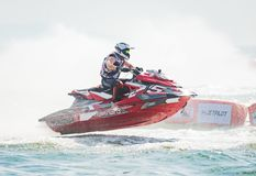 Jet Ski World Cup 2017 in Thailand. Pattaya, Thailand - December 9, 2017: Aero Sutan Aswar from Indonesia competing in the Pro-Am Runabout Stock Class of the Royalty Free Stock Photography
