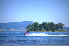 Jet skiing in Batak reservoir Royalty Free Stock Photos