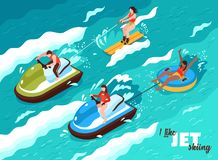 Jet Skiing Isometric Poster illustration de vecteur