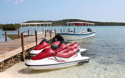 Jet Skis on the beach Royalty Free Stock Photography