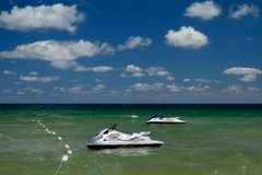 Jet skis on the Black sea in Nessebar Bulgaria. Leisure stock photography