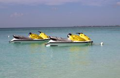 Jet Skis in Grand Caymans. Jet Skis on Seven Mile Beach in the Grand Caymans in January 2005 Stock Images