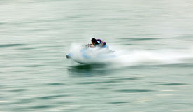 Jet-sky. Riding jet sky at beach in high speed Stock Images