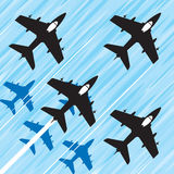 Jet squadron. Group of fighter jets in a fast squadron flight. Vector image Royalty Free Stock Photo