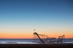 Jet Star rollercoaster fallen into the ocean after Hurricane Sandy. Famous rollercoaster that fell into the Atlantic ocean after hurricane Sandy hit Stock Images
