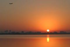 Jet at sunrise. Sunrise over tampa Stock Photo