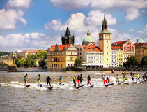 Jet Surf Riders. Line of riders on the water surface - Vltava River, Prague. The Moto Surf World Cup 2016 Prague