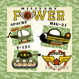 Military equipments. Jet, tank, helicopter, armored vehicles with military logo on camouflage frame, vector cartoon. EPS 10 Royalty Free Stock Image