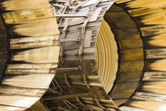 Jet thrust. Abstract of scorched engine thrust outlets on a military jet Royalty Free Stock Image