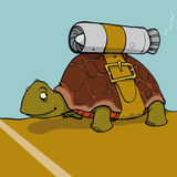 Jet tortoise. Tortoise with jet engine strapped to shell royalty free illustration