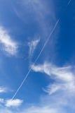 Jet trace with blue sky background. Jet trace with beautiful blue sky background Stock Photos