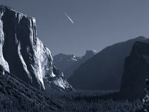 Jet trail over Yosemite Stock Photos