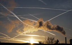 Jet trails in the sky Royalty Free Stock Images