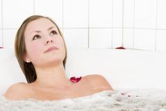Jet Tub Cure Bath. Relaxing in a jet tub at a day spa in a cure bath, a little taste of luxury royalty free stock photo