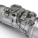 Jet--Turbofan-Triebwerk auf Weiß 3D Illustration, Beschneidungspfad Stockfoto