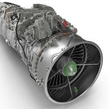 Jet--Turbofan-Triebwerk auf Weiß 3D Illustration, Beschneidungspfad Stockbild
