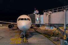 Jet and Walkway at Night Royalty Free Stock Image