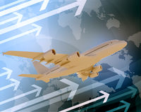 Jet with world map and arrows Stock Photos