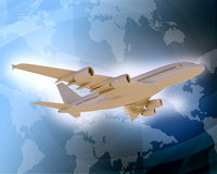 Jet with world map on blue background Stock Image