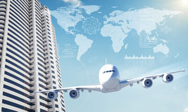 Jet with world map and business center Royalty Free Stock Photos