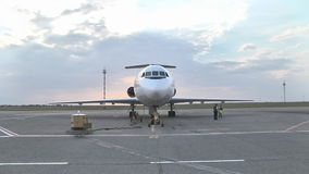 Jet Yak-46d stands at the airport on the tarmac stock video