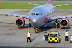 Jet2 arriving. Jet2 Boeing airplane arrived at Budapest airport, Hungary Royalty Free Stock Photos