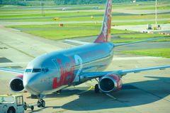 Jet2 Boeing 737. Being pushed back at Manchester Airport stock photo