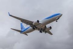 Jetairfly plane overhead Royalty Free Stock Photo