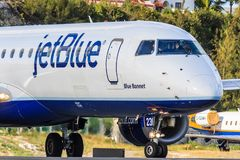 Jetblue Embraer 190. Taxiing at St. Maarten Stock Images