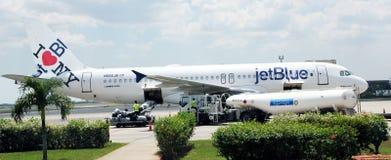 JetBlue Plane. At Cuba airport Royalty Free Stock Image