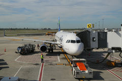 JetBlue plane on tarmac at John F Kennedy International Airport in New York Stock Photos