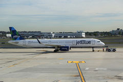 JetBlue plane on tarmac at John F Kennedy International Airport in New York Royalty Free Stock Photography