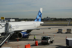 JetBlue plane on tarmac at John F Kennedy International Airport in New York Stock Image