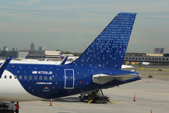 JetBlue plane on tarmac at John F Kennedy International Airport in New York Stock Photography