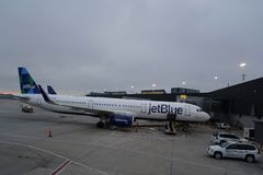 JetBlue plane on tarmac at John F Kennedy International Airport in New York Stock Image