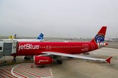 JetBlueluchtbus A320 die de moedige mannen en vrouwenbrandweerkorpsstad van NY eren bij de poort bij Terminal 5 bij JFK Stock Afbeelding