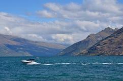 Jetboat Queenstown Nya Zeeland Arkivbilder