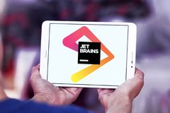 JetBrains software development company logo. Logo of JetBrains company on samsung tablet. JetBrains is a software development company whose tools are targeted Stock Images