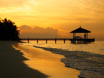 Jetée de coucher du soleil Photographie stock libre de droits