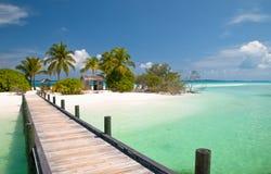 Jetée à une plage tropicale Photographie stock libre de droits