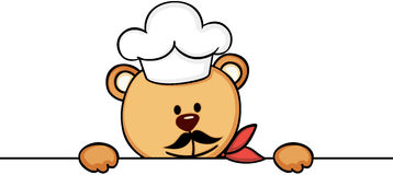 Jeter un coup d'oeil de cuisinier de chef d'ours de nounours illustration de vecteur
