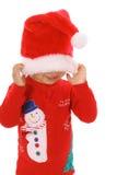 Jetez un coup d'oeil un enfant de Noël de boo Images stock