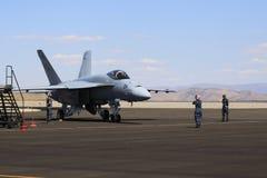 Jetfighter на гудронированном шоссе Невады Стоковая Фотография RF