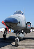 Jetfighter. Modern US Air Force jetfighter with red star Royalty Free Stock Photo