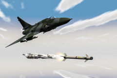 Jetfighter. A jetfighter armed with rockets in use Royalty Free Stock Images
